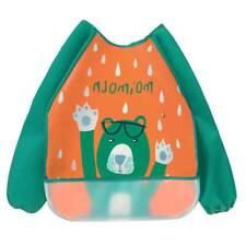 Baby Kids Waterproof Sleeve Burp Cloths Bibs Feeding Smock Painting Anti-pigment Green
