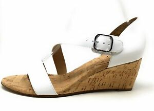 VANELi Womens Marise Wedge Sandal White Patent Leather Silver Buckle Size 9 M US