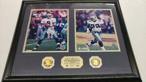 Troy Aikman and Emmitt Smith Framed Display 2 Photos Medallions Highland Mint