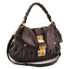 MIU MIU Leather 2Way Shoulder Bag Brown Auth 12396