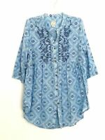 Lucky Brand blouse peasant top art to wear artsy blue top designer western sz M