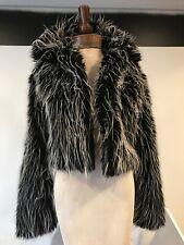 BEBE Faux Fur Jacket Black white Fashion Women's Cropped Coat M Great!