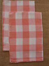 Set of 2 Park Designs WICKLOW Check Kitchen Towels - Coral and Off White