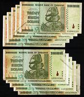 10 x 20 Billion Zimbabwe Dollars Bank Notes AA AB 2008 Currency 10PCS Banknotes