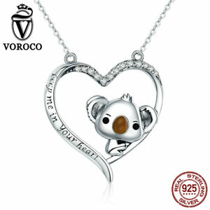 VOROCO 925 Silver Cute Koala And Heart Pendant Engraving Keep Me In Your Heart