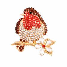 Bride And Groom Brooch Pins Robin Bird Gold Tone Diamante Crystal Broach Gifts