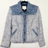 Rebecca Taylor blue tweed fringe raw trim quilted denim jacket size 12 boho