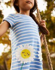 Joules Girls Kaye Short Sleeve Applique Dress  - Blue Flower