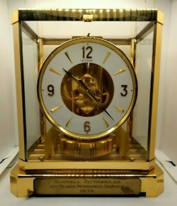 Vintage 1972 Swiss Jaeger LeCoultre Atmos 528-8 Brass Mantle Clock SN 340009