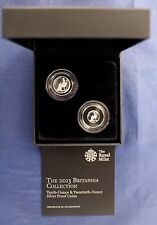 2013 Royal Mint Silver Proof Britannia 2 coin set in Case with COA   (A10/86)