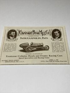 Vintage Chevrolet Bros Mfg Co 1925 Price List Catalog Indianapolis Indiana Rare