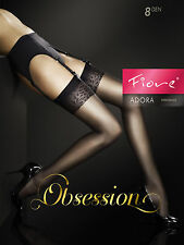 "Sheer Stockings With Seam Pattern by Fiore ""anais"" Postage UK 2/small Black"