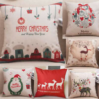 Merry Christmas Throw Pillow Cases Cafe Sofa Linen Cushion Cover Home Decoration