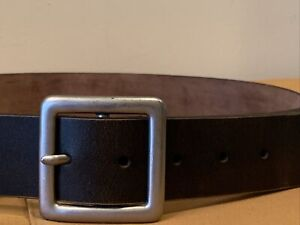 Old Navy Dark Brown Vintage Thick Genuine Italian Leather Belt Size 32 Made USA