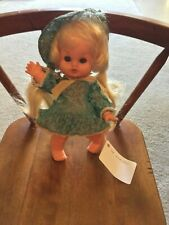 """Doll Girl Long Blond Pigtails in Turquoise Lace Dress Bonnet to Match Panties 9"""""""
