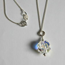 Bridal STERLING SILVER 925 NECKLACE 4 Leaf Clover SWAROVSKI Elements CRYSTAL