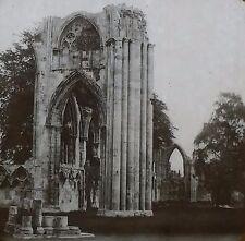 St. Mary's Abbey Ruins, York, England, Magic Lantern Glass Slide