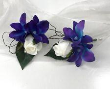 2x SILK WEDDING FLOWER BLUE SINGAPORE ORCHID ROSE CORSAGE BUTTON HOLE FLOWER