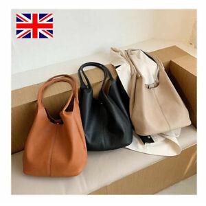 Women/'s Ladies Brown Soft Faux Leather Slouch Large Handbag Bag