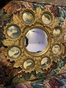 Beautiful 19th Century Cameo Creations Ornate Gold Frame Wall Convex Mirror.