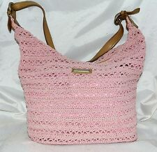 Frankie & Johnnie Pink Crocheted Hobo Bag with Tan Faux Leather Strap