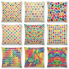 Colorful Flowers Leaves Dots Stars Lovely Geometric Pattern Pastel Cushion Cover