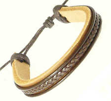 Dark Brown Leather & Cord Surf Wristband Bracelet Surf Surfer