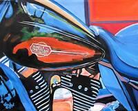 Harley-Davidson Motorcycle Original Art PAINTING DAN BYL Modern Contemporary 5ft
