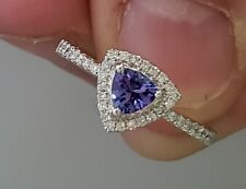 14K White Gold Natural Trillion Tanzanite and Diamond Engagement Ring Halo