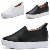 Women Platform Hidden Wedge Heel Sneakers Casual Slip On Loafer Shoes Creepers L