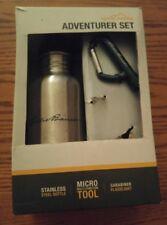 000 Eddie Bauer Adventurer Set Stainless Steel Bottle Carabiner Flashlight