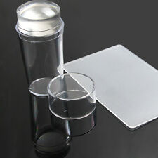 2 pcs/pack Clear Silicone Jelly Nail Art Stamper & Scraper Cap Stamping Tools