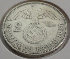 Germany 2 REICHSMARK SILVER MARK HINDENBURG SWASTIKA 1936 D Third Reich