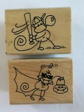 Stampendous Rubber Stamps 2 Lot Changito Vamp & Play Ball Halloween Baseball
