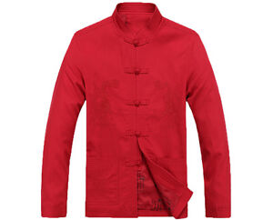 Cotton Men's Chinese Style Embroidered Dragon Jacket Kung Fu Coat Tang Dress Top