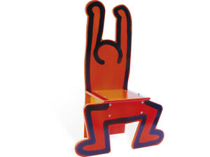 Keith Haring Chair RED Natural wood design rare