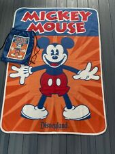 Disneyland Mickey Mouse Fleece Blanket/Throw with String Backpack Unused, no tag
