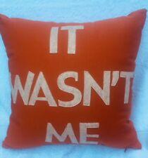 """Alexandra Ferguson It Wasn't Me Throw Pillow, Pumpkin Canvas/Oatmeal, 16"""" x 16"""""""
