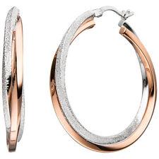 Damen Creolen 925 Sterling Silber bicolor vergoldet mit Struktur Ohrringe.