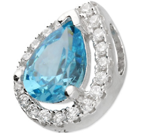 "Silver Aquamarine Pendant Diamond Cluster 925 Sterling Silver 18"" Chain Necklace"