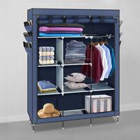 "69"" Portable Closet Wardrobe Clothes Rack Storage Organizer With Shelf Blue"