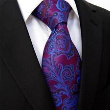 New Hologram Shine Mens Blue Purple Eggplant Black Paisley Design 100% Silk Tie