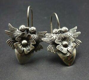 Elegant FEDERICO JIMENEZ Sterling Silver DOVES IN LOVE EARRINGS Pierced Wires