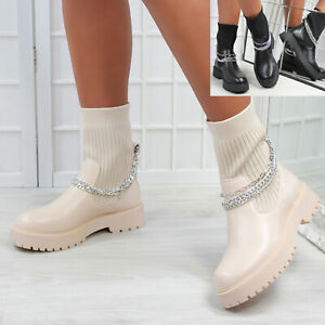 New Womens Knitted Pull Up Chunky Sole Biker Boot Shoes Sizes 3-8