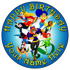 """DC SUPERHERO GIRLS PARTY - 7.5"""" PERSONALISED ROUND EDIBLE ICING CAKE TOPPER BLUE"""