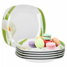 6er Set Kuchenteller Calla 19cm Dessertteller Teller weiß Geschirr Porzellan
