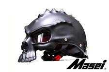 MASEI 489 Open-Face Skull Motorcycle Helmet in Matte Black - The Punisher