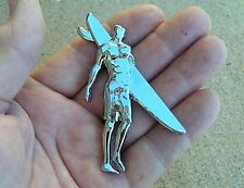 SURFER CAR BADGE FRONT Chrome Metal Emblem Surf Board Rider Beach Sandman Holden
