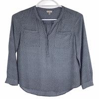 Roz & Ali Blue Gray Geometric Print Semi Sheer Top Pockets Long Sleeve XL V Neck