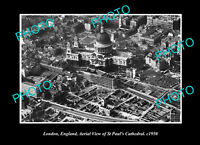 OLD POSTCARD SIZE PHOTO LONDON ENGLAND AERIAL VIEW ST PAULS CATHEDRAL c1950 2